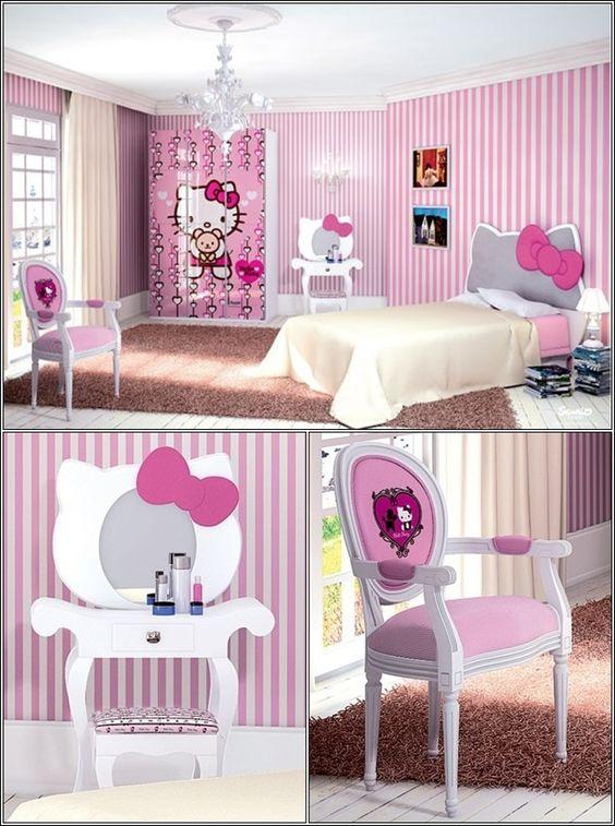 """décorez la chambre de votre petite fille avec """"hello kitty"""" thème"""