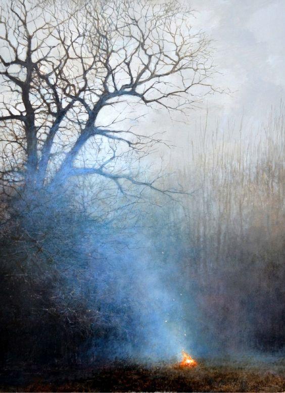 Andrew Crocker | 'The Lessening Day', oil on board, 42 x 57 cm.