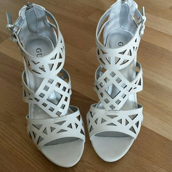 Guess white cut - out Sandal Back - zip high heel(gently uses) Guess Shoes