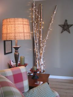 Birch Branches With Lights Winter Sparkle Pinterest Fireplaces The Fireplace And Chang E 3