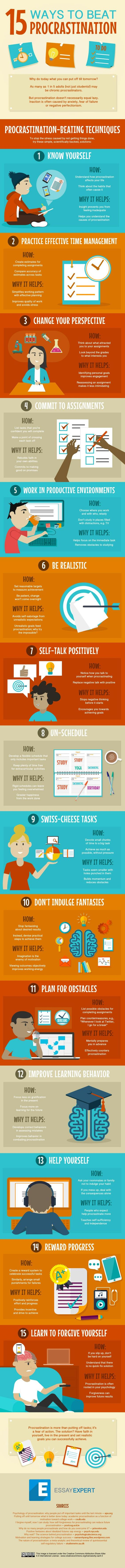 Practical tips on avoiding procrastination. 15 Ways to Overcome Procrastination and Get Stuff Done (Infographic)