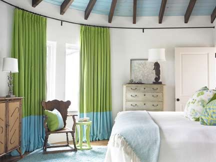 blue and green drapes