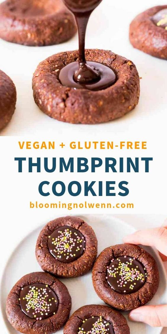 These Vegan Chocolate Thumbprint Cookies are easy to make, gluten-free, oil-free, refined sugar-free and delicious. They are great for dessert and perfect for Christmas or for a birthday party. #vegancookies #glutenfreecookies #thumbprintcookies #christmascookies
