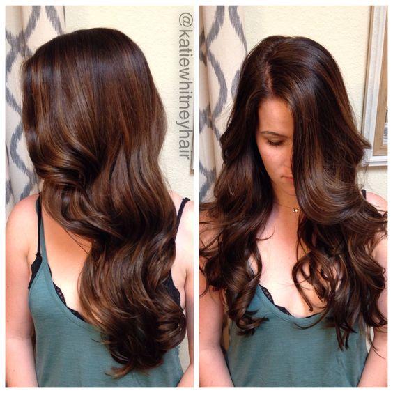 Chocolate brown hair with caramel balayage highlights katiewhitneyhair