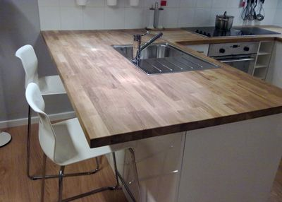 Ikea Solid Oak Timber Countertop Benchtop Breakfast Bar