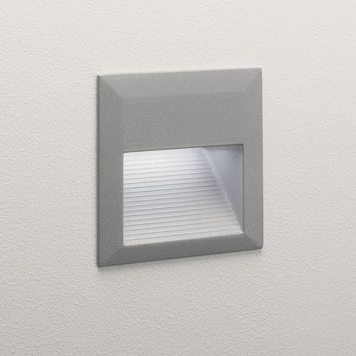 Tecla Led Square Outdoor Recessed Wall Light In Painted Silver 2 4w 42lm 3000k Ip44 Rated Outdoor Wall Lighting Outdoor Walls Wall Lights