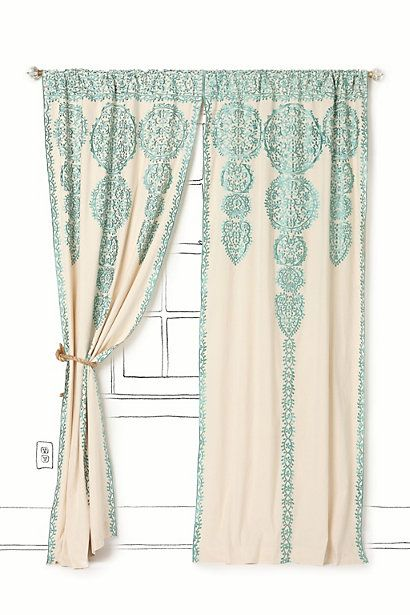 i love the turqouise, but that would be too busy in my living room.. maybe the white on white?  so it doesnt look too busy but still has texture?: Marrakech Curtains, Curtain Anthropologie, Dining Room, Living Rooms, Anthropologie Marrakech, Master Bedroom, Anthropologie Curtains
