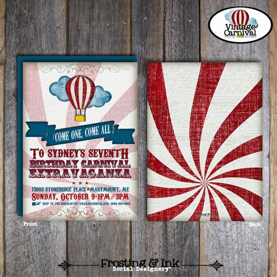 They have the whole package you can order if you want. Carnival Party - Circus Party - Invitation & Wrap Around Address Labels - Customized Printable (Vintage Inspired). $20.00, via Etsy.