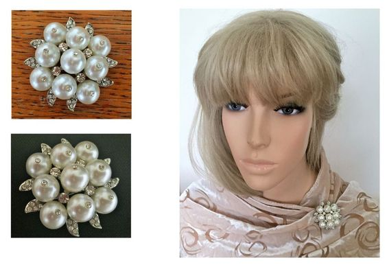 Beautiful Large Pearl Brooch Scarf Pin with Diamante In Silver Tone