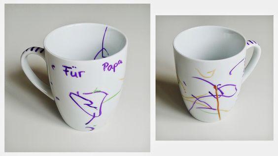 Tasse bemalen mit Porzellanmalstiften, Porzellanmaler, Geschirr bemalen, Teller bemalen, Geschenkidee Vatertag