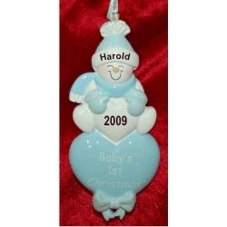 Lots of Love, Baby's First Christmas Blue - Personalized First Christmas Ornament