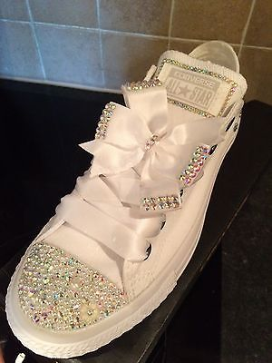 Crystal Bling Wedding Casual Mono White Converse Sizes UK 4-9