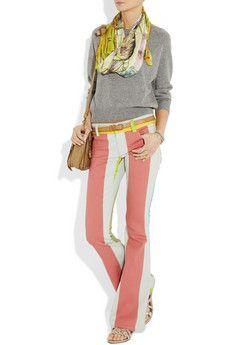 ALICE + OLIVIA  Striped stretch-denim flared jeans