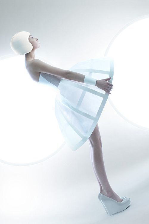 Futuristic Fashion - space age dress with white cage skirt & helmet; sculptural fashion // Ilya Plotnikov & Alexandra Zaharova: