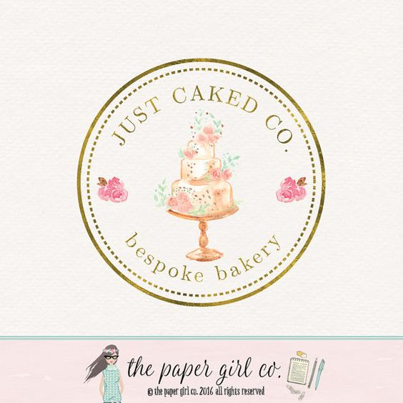 cake logo design watercolor cake logo bakery by ThePaperGirlCo