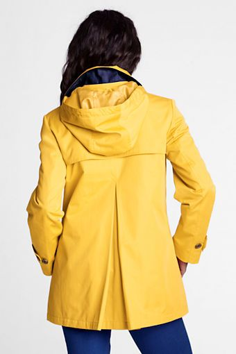 Women's Modern Rain Swing Parka from Lands' End. Classic yellow