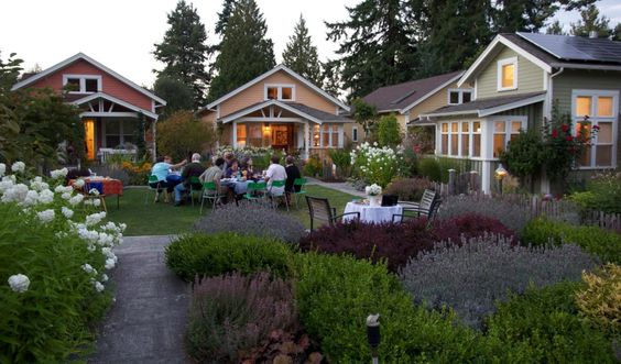 A wonderful pocket neighborhood of little homes. Pocket neighborhoods face a common green space instead of the street.