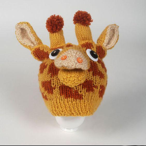 Knitted Giraffe Pattern : PATTERN - Knit Giraffe Hat Hats, Etsy and Hat patterns