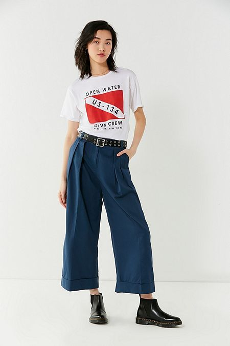 UO Davie Wide-Leg Pleated Chio Pant