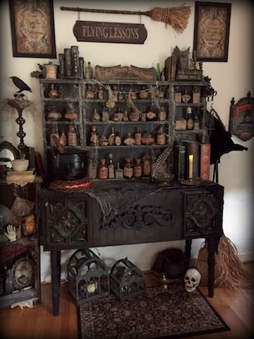 Love these pics in,Halloween Forum .witches potion shop by Halloween Forum member StacyN.how cool would this be to display all my bottles I make..
