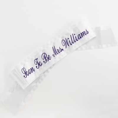 "Personalized ""Soon to be Mrs."" Sash by David's Bridal #davidsbridal #bacheloretteparty"
