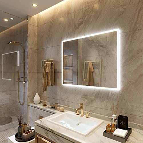 Buy Petus Petushouse 36 X 28 Inch Led Lighted Bathroom Wall Mounted Vanity Mirrors Acrylic Frame White Light Dimmable Anti Fog Memory Button Waterproof Cri 90 In 2020 Bedroom Mirror Frames On