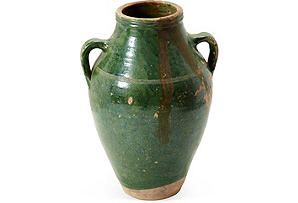 Small Green Olive Jar I: Small Green, Clay Jars, Green Jars, Green Olive, Olives