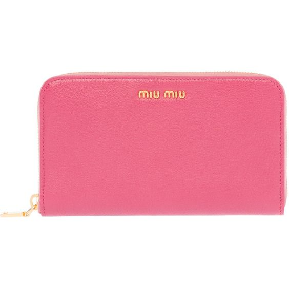 Miu Miu Wallet ($595) ❤ liked on Polyvore featuring bags, wallets, bruyere pink, genuine leather wallet, pink wallet, leather zip wallet, leather pocket wallet and leather wallet