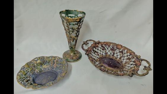 تعتيق و اعادة تدوير طقم ديكور معدن بشكل يبهرك Decorative Bowls Handicraft Decor