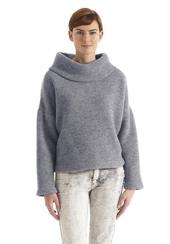 Wollfleece-Pullover aus Schurwolle