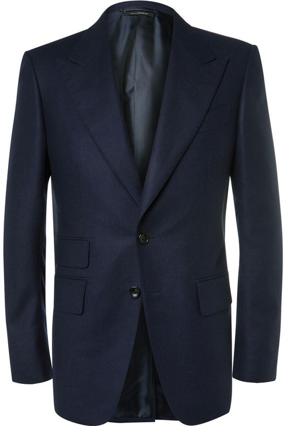 TOM FORD Blue Wool-Flannel Suit Jacket