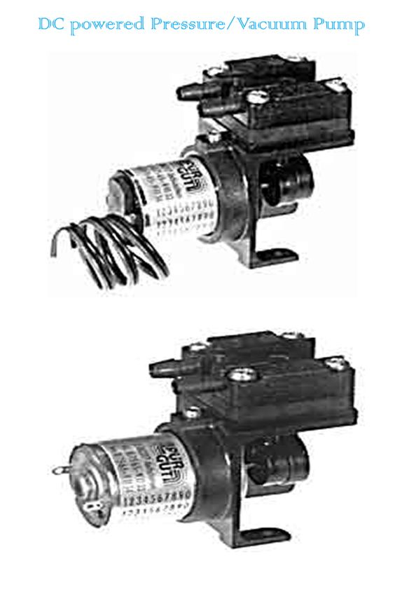 DC Powered Diaphragm Type miniature pressure/vacuum pumps are quiet, reliable and mount in any position. for pump products information click http://www.clarksol.com/html/pumps.cfm