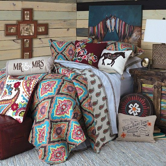 Mr and mrs quilted bedding collection western decor for Country girl bedroom designs