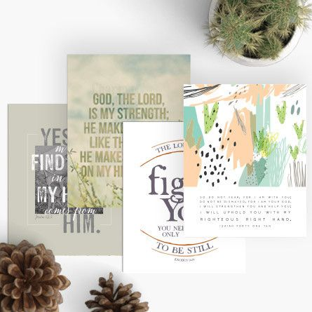"""Encouragement Art to share or to display in your home or office. Each verse was carefully chosen to encourage and elevate our spirits.  These beautiful 8x10"""" prints created with calm, earthy colors make thoughtful gifts for friends who need a message of encouragement or as beautiful reminders throughout your own home.  Printed on acid-free and archival heavy-weight stock.  Set of 4."""