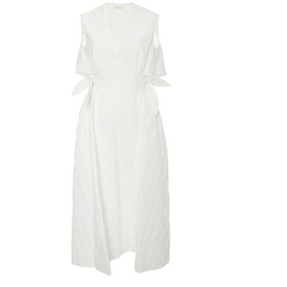 DELPOZO Textured Cotton Midi Dress ($975) ❤ liked on Polyvore featuring dresses, cotton day dresses, calf length dresses, a line dress, midi dress and geo print dress