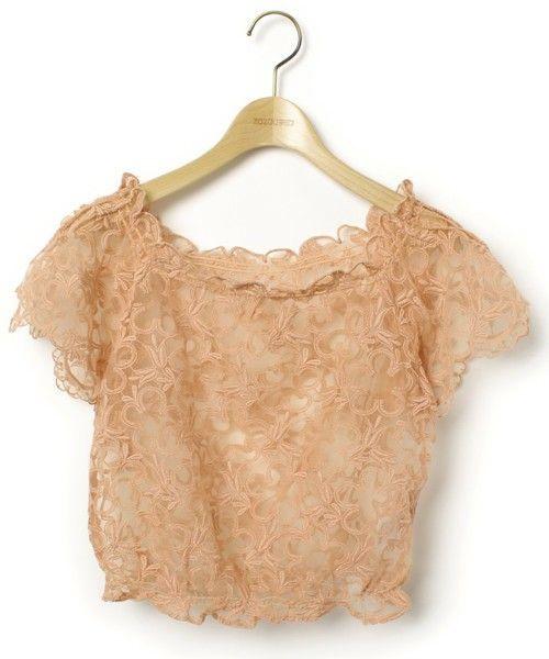 Lily Brown(リリー ブラウン)「刺繍半袖ブラウス(シャツ/ブラウス)」|ピンク