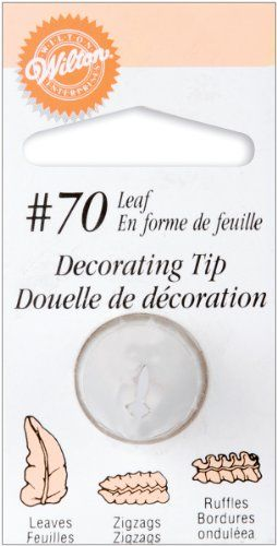 Wilton No70 Carded Leaf Tip - The Wilton 70 icing nozzle can be used to make flower petals, leaves, ruffles, swags & bows.  Ideal for Shell-Motion Borders too  - #Carded, #Leaf, #No70, #Tip, #Wilton  - http://wp.me/p2Sdif-4O5