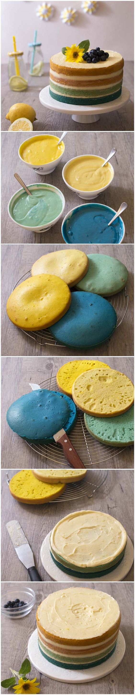 Ombre cake citron coco: photo de la recette