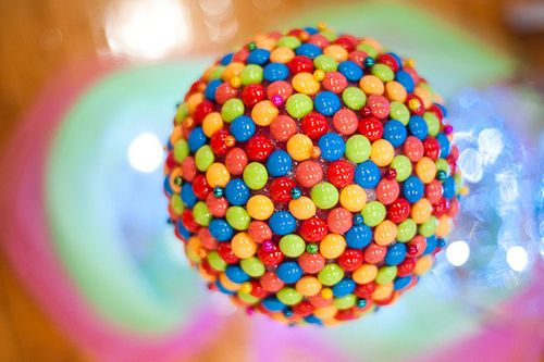 Craft your own rainbow candy balls for colorful decor