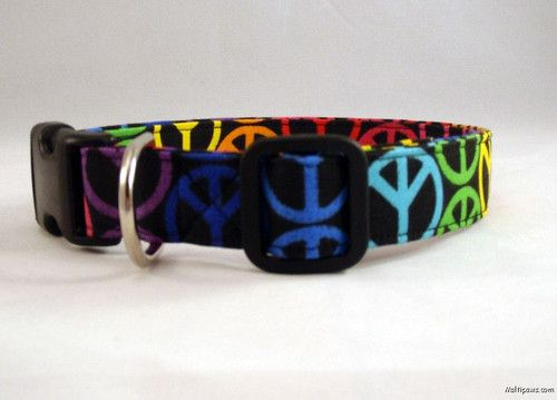 This multi colored peace dog collar is so awesome! Perfect for any dog, any time!