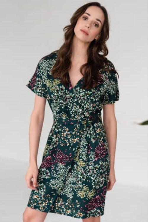 Zielona Sukienka W Kwiaty Clothes Fashion Dresses With Sleeves