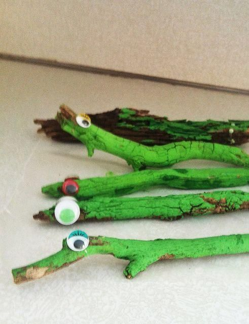 Time for a backyard safari! Find sticks to make amazing alligators.