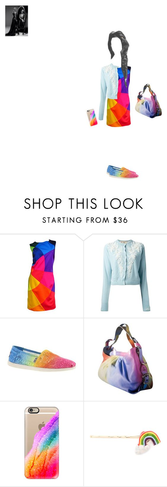 """""""Rainbow"""" by theater-potter-dance-warriors ❤ liked on Polyvore featuring Moschino, Skechers, Fendi, Casetify, Venessa Arizaga and megswag"""