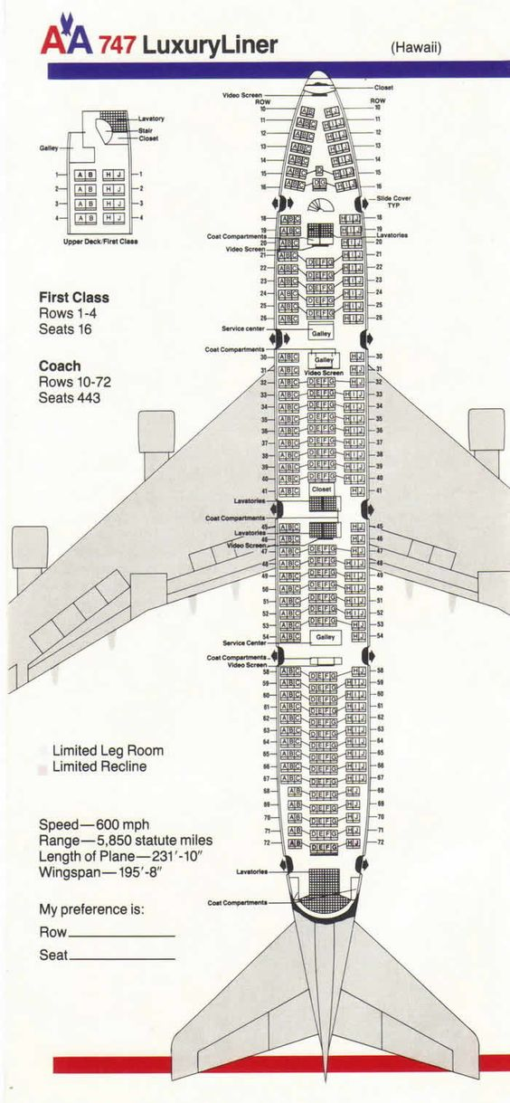 Aa Boeing 747 Hawaii Airline Seating Charts Pinterest