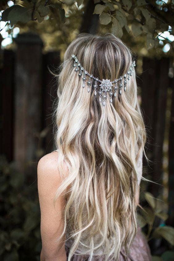 Boho chic wavy wedding hairstyle with silver jewel draped headpiece; Featured Hairpiece: Lottie Da Designs