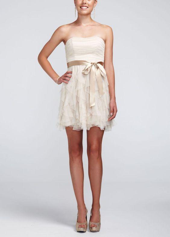 Strapless glitter mesh dress with ruffled skirt david 39 s for Strapless sparkly wedding dresses