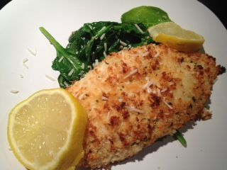 Baked Parmesan Lemon Chicken with Sauteed Spinach | Recipe Ideas | Modern Mom Meals