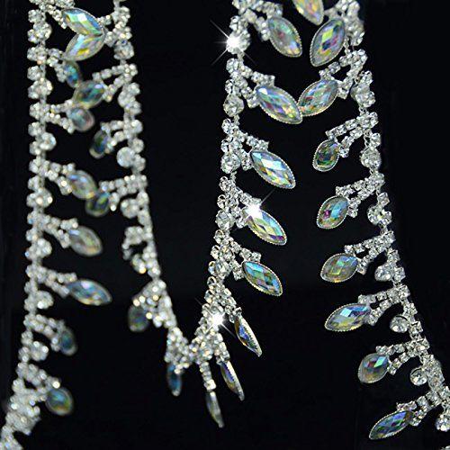 Crystal Applique Rhinestone Bridal Trim Fashion Chain Fringe Embellishment Clear