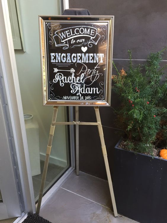 Chalkboard Engagement Party Welcome Sign by CustomPrintablesNY