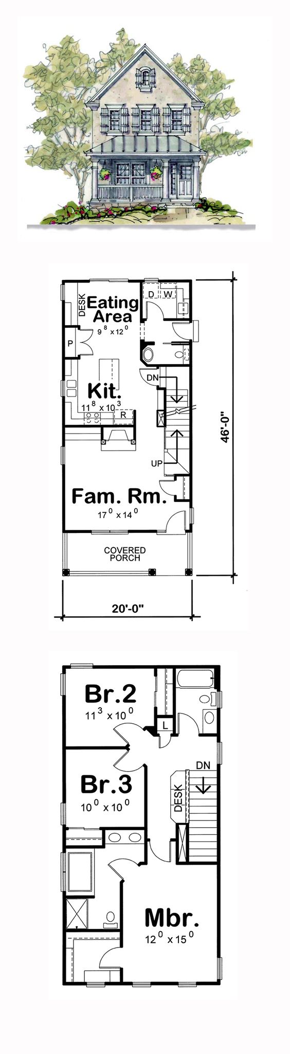 Narrow lot house plans house plans and bedrooms on pinterest for Apartment home plans for narrow lots